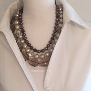 Stella and Dot Retired Triple Strand Bead Necklace